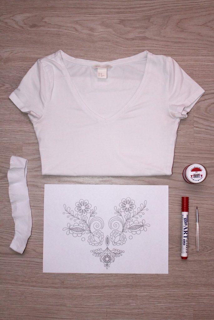 maľované tričko postup